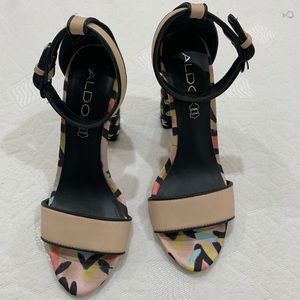 Aldo Shoes - Aldo Peach and Patterned Heels Size 7